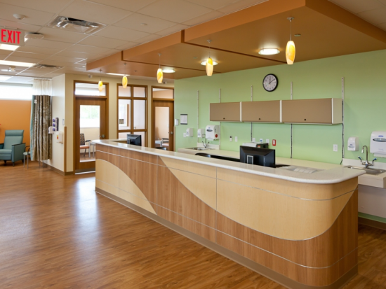 Nurse station at Pre and Post Op areas in dental ambulatory surgery center.